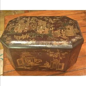 "Other - ANTIQUE ENGLISH CHINOISERIE LACQUER BOX 17"" WIDTH"